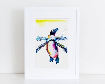 Colorful PENGUIN Art - Print of original watercolor painting - bright colorful decor