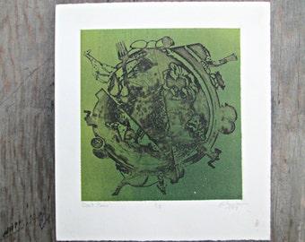 Abstract Earth Print - Green Earth Print - Bohemian Art - Boho Intaglio Print - Original Art - Green Abstract Art - Boho Home Decor