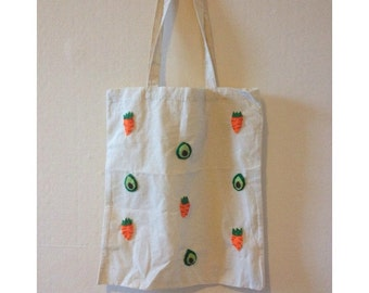Avocado and Carrot Vegetable Tote Shoulder Bag