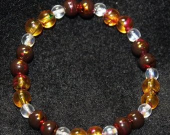 Brown & Golden Yellow, Glass-Beaded, Stretchy Bracelet