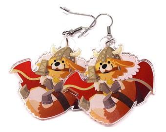 Thorgi Earrings, Cute Corgi Earrings, thor, mjolnir, thor earrings, pembroke welsh corgi, Thorgi, corgis, corgies, kawaii