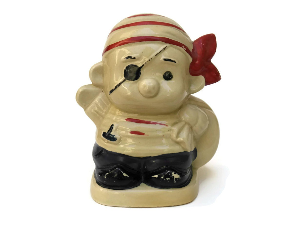 Pirate money box hand painted ceramic penny bank vintage - Ceramic piggy banks for boys ...
