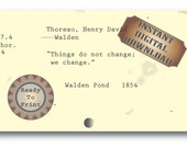 Change Thoreau Card Catalog Digital File Aged Walden Book Quote