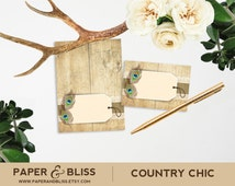PRINTABLE Country Chic - Tent Cards Place Cards - Burlap Rustic Wood Peacock Feathers Lace