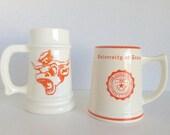 University Of Texas Beer Stein Set Ceramic Longhorn Vintage