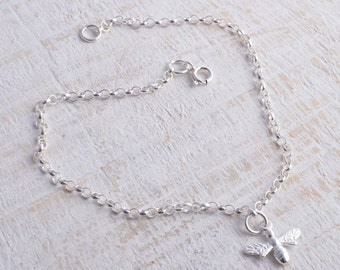 Ankle bracelet sterling silver 925 bee honey bee charm chain ankle bracelet anklet