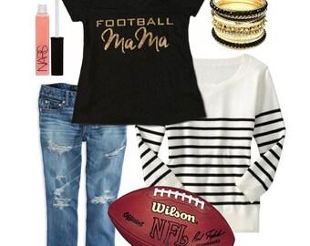 Football Mom Tshirt | Custom Glitter Jersey Tee | Tailgate Sports Apparel T Shirt | Personalized Spirit Sports Shirt | Football #1 Fan Top