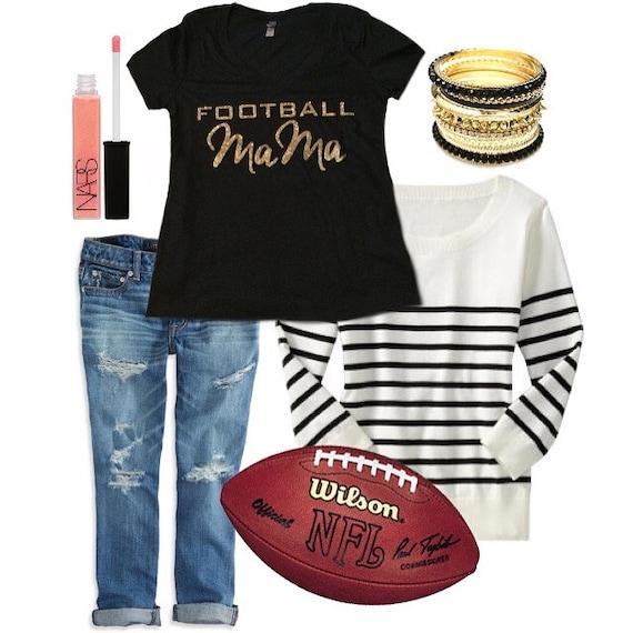 Football mom tshirt custom glitter jersey tee tailgate for Custom football jersey shirts