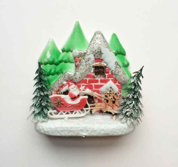 Vintage Christmas Wall Decor : Vintage christmas plastic wall decoration ornament kitsch