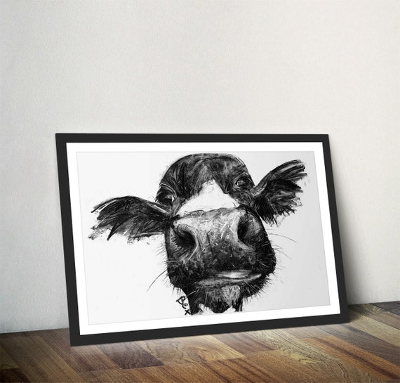 Black Cow Wall Decor : Cow art print wall charcoal illustration