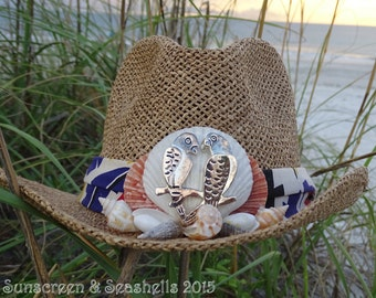 Parrothead Seashell panama cowboy hat ONE of a KIND!