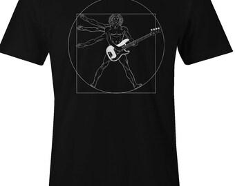 Funny Guitar T Shirt - Davinci Vitruvian Guitar Player Tshirt - Unisex T shirt - Item 1272