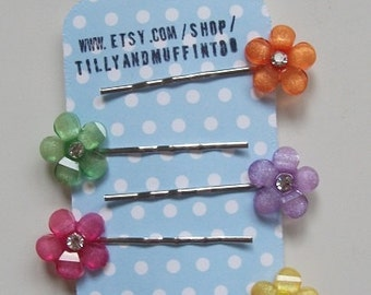 Handmade Flower Bobby Pins, Hair Grips,Hair Slides,Hair Pins. Tropical Colours. Party Favours, Wedding, Stocking Stuffer/Filler