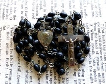 Vintage Catholic Rosary - Sorrowful Mother, Mater Dolorosa, Ecce Homo, Black Beads