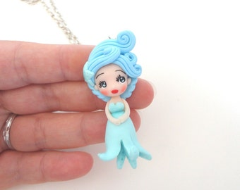 Necklace doll Octopus in light blue polymer clay summer 2015 siren mermaid fish