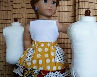 Polkadot and Floral Doll Skirt / American Doll Skirt / 18-inch Doll Skirt