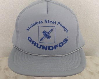 "Vintage Baseball Cap - ""Grundfos Stainless Steel Pumps"" - gray with blue decal - excellent condition"