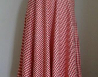 70's Oleg Cassini Maxi Skirt Designer Flared Woven Red White Sweeping Skirt