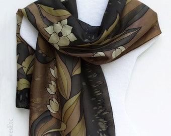 Hand painted silk scarf, Brown silk scarf, Tan flowers, Brown floral scarf, Abstract flowers, Painted artist silk scarf, handpainted brown