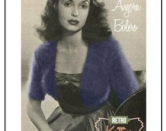 1950 Angora Bolero Knitting Pattern - PDF Knitting Pattern - PDF Instant Download