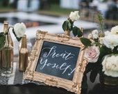 Dessert Table Sign / Treat Yoself Sign / Love is Sweet Print / Chalkboard Print / Gold Frame Chalkboard / Wedding Chalkboard /Ornate Frame