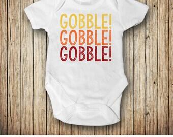 Thanksgiving Outfit, Thanksgiving Bodysuit, Gobble Gobble Gobble