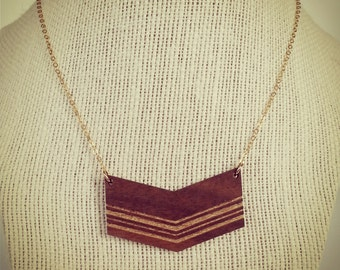 Gold Striped Chevron Necklace in Walnut Wood with Gold Filled Chain