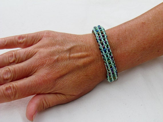 French Knitting With Beads : Handmade french knit beaded bracelet light green with