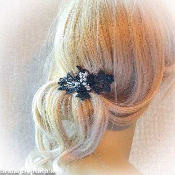 Black Flower Hair Accessory J7213: Black Beaded Bridal Flower Hair Accessories
