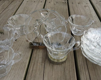 New Martinsville Glass/Viking Janice Pattern Cup and Saucers