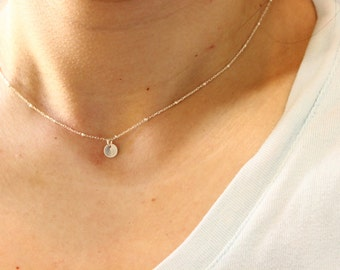 Tiny initial necklace, silver initial necklace, monogram necklace, beaded chain, initials necklace, delicate necklace, bridesmaid gift