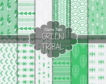 """Tribal digital paper: """"GREEN TRIBAL"""" with tribal patterns and tribal backgrounds, arrows, feathers, leaves, chevrons in green"""