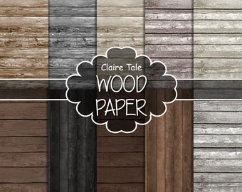 """Wood digital paper: """"WOOD PAPER"""" with distressed wood background, wood texture, rustic wood, scrapbooking wood, wood photography backdrop"""