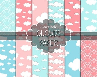 """Clouds digital paper: """"CLOUDS PAPER"""" with clouds and sky patterns in light pink and blue shades / pastel clouds"""