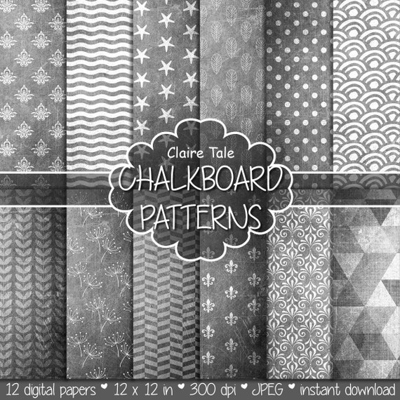 "Chalkboard digital paper: ""CHALKBOARD PATTERNS"" chalk with damask, stars, triangles, fleur-de-lis, leaves, stripes, waves, polka dots"