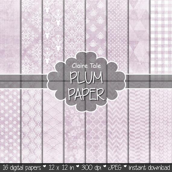 "Plum digital paper: ""PLUM SHABBY CHIC"" with plum damask, crosshatch, quatrefoil, flowers, lace, polka dots, triangles, stripes, hearts"