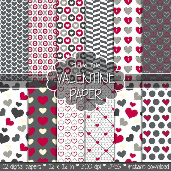 "Valentine's day digital paper: ""VALENTINE'S PAPER"" valentine's day backgrounds with hearts in red and grey / valentine's hearts patterns"