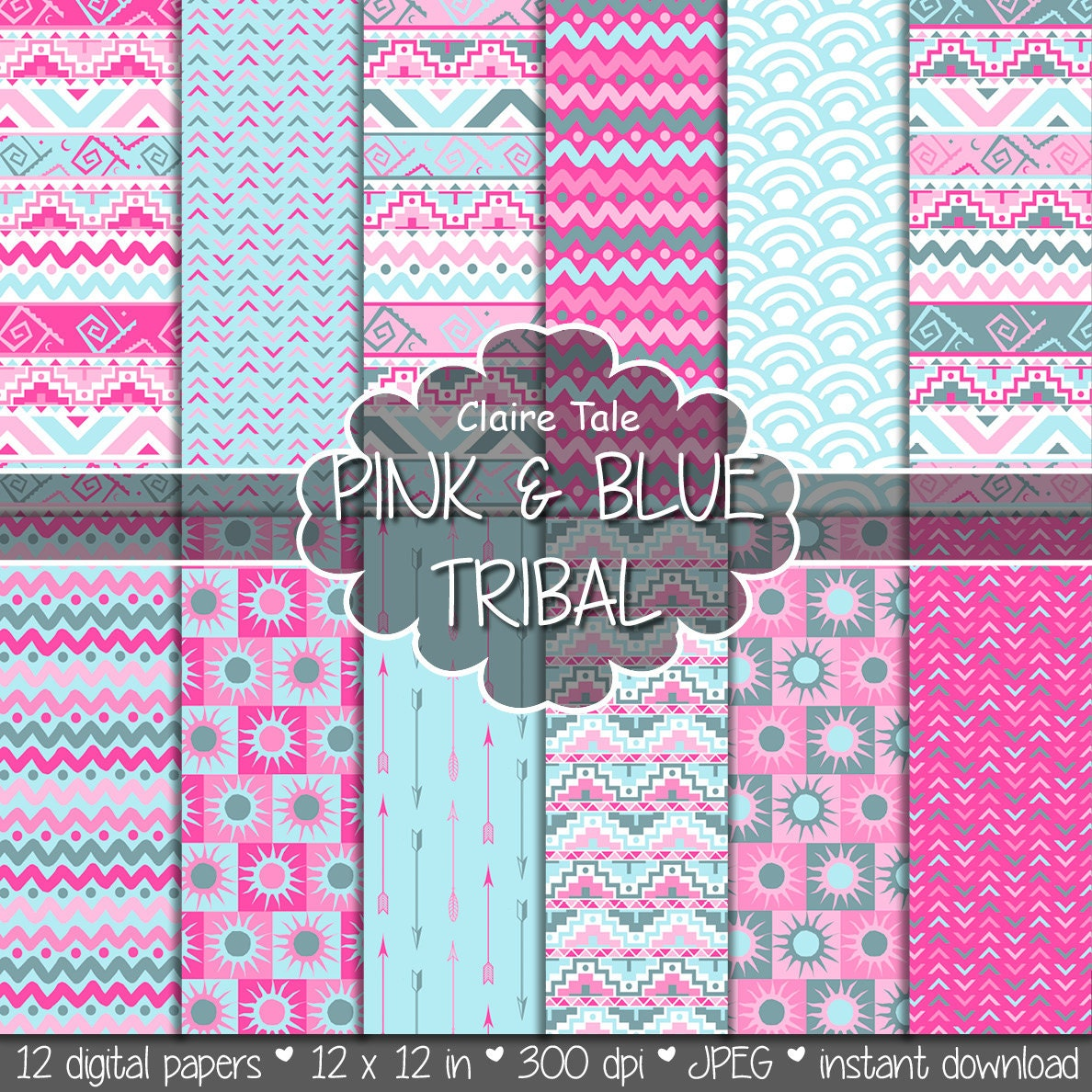 Blue Tribal Wallpapers: Tribal Digital Paper: PINK & BLUE TRIBAL With Tribal