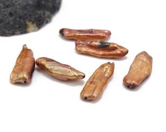 Champagne Copper Color Freshwater Biwa Stick Pearls Aprox 8x25mm 6pcs