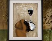 Boxer Dog Art Print Dog Au Vin Boxer Dog painting dog wall art boxer dog art dog painting boxer illustration dog wall decor gift wine lover