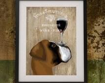 Boxer Dog Art Print - Dog Au Vin  Boxer Dog print Gift for wine lover gift wine art Boxer Dog illustration birthday gift for mom mothers day