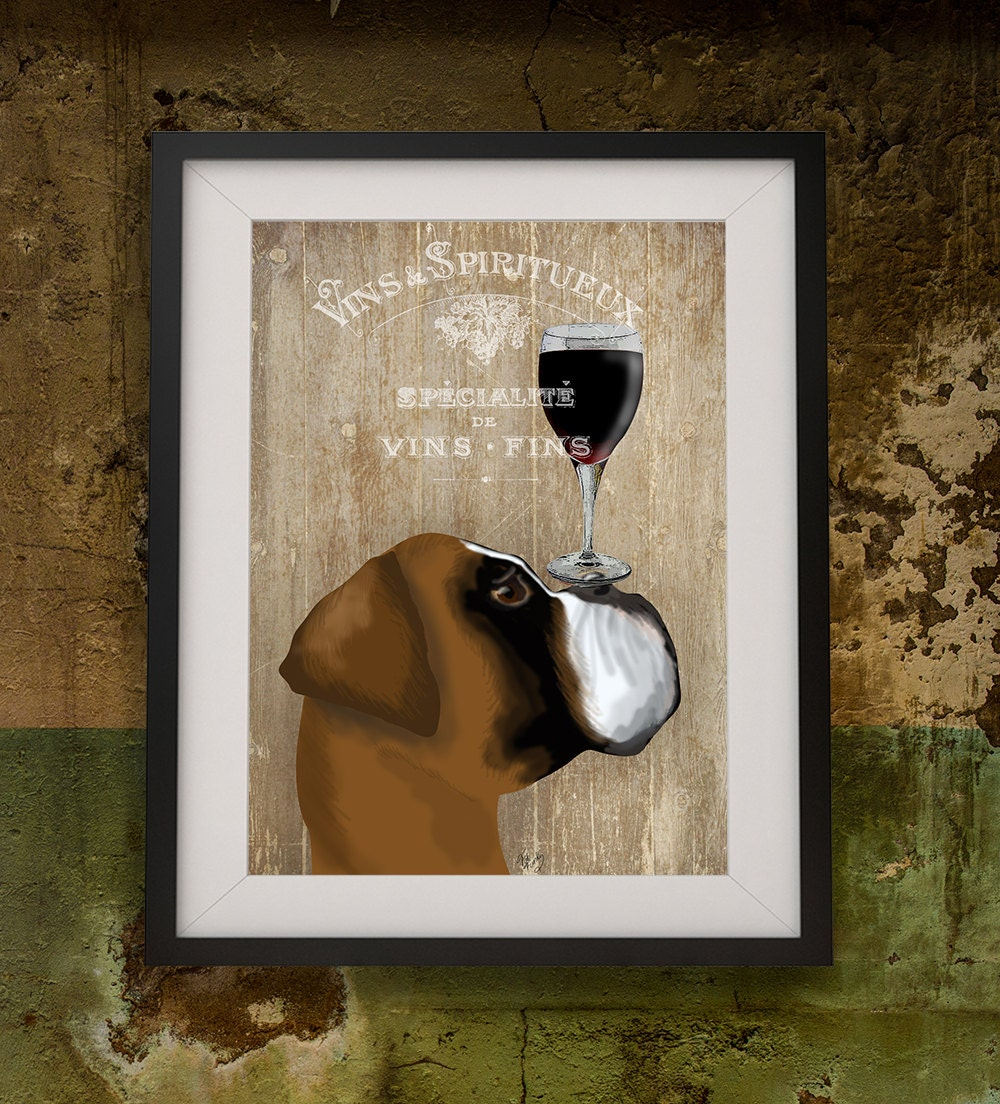 Scrapbook ideas for dogs - Boxer Dog Art Print Dog Au Vin Boxer Dog Painting Dog Wall Art Boxer Dog Art Dog Painting Boxer Illustration Dog Wall Decor Gift Wine Lover
