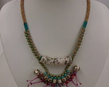 Handmade Statement Bohemian Boho Necklace Aztec Fabric Turquoise Green Pink Beads Plaited Cord Lobster Clasp Extension Chain Tassles