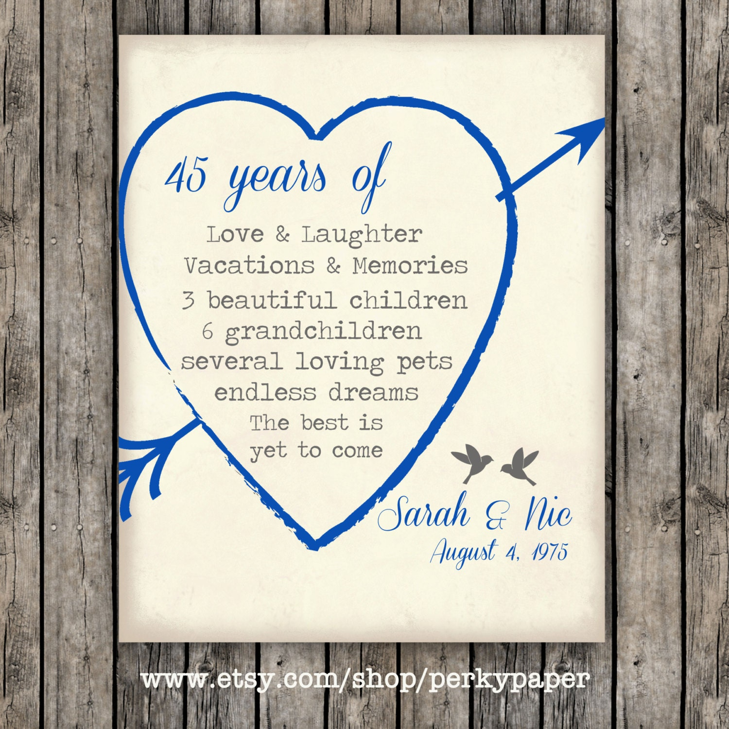 45th Sapphire Anniversary Gift For Parents