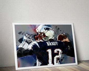 DIGITAL - Tom Brady Illustration Print Artwork (instant download) - New England Patriots - Frameable NFL Football Art Patriots Quarterback