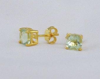 Green Amethyst Stud Earrings - Gemstone Stud Earrings - Gold Post Earrings - Bridesmaid earrings - Minimalist Earring studs