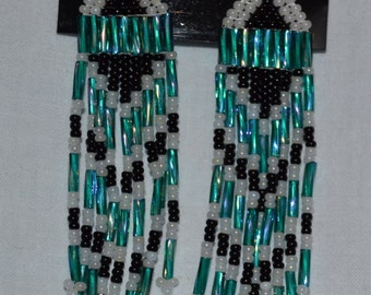 Black, White, and Iridescent Teal Native American Style Beaded Earrings