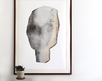 Abstract Gray Head, Large Modern Portrait Poster, Oversized Fine Art Giclee Print
