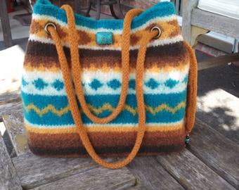 Southwest Style Knit & Felted Handbag
