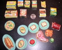 Vintage 1960s Barbie Deluxe Dream Kitchen Food Lot - 20 pieces - Barbie Doll